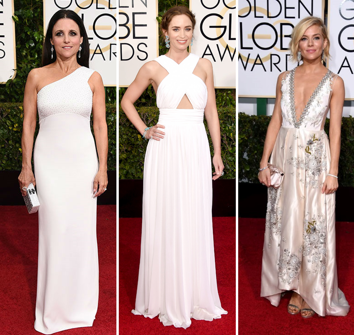 e500c444ae 1. Julia Louis-Dreyfus in Narcisco Rodriguez 2. Emily Blunt in Michael Kors  3. Sienna Miller in Miu Miu