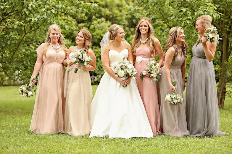 Bella Bride Dawn Beverage Tannehill with her bridesmaids in Jenny Yoo Annabelle from Bella Bridesmaids Shreveport