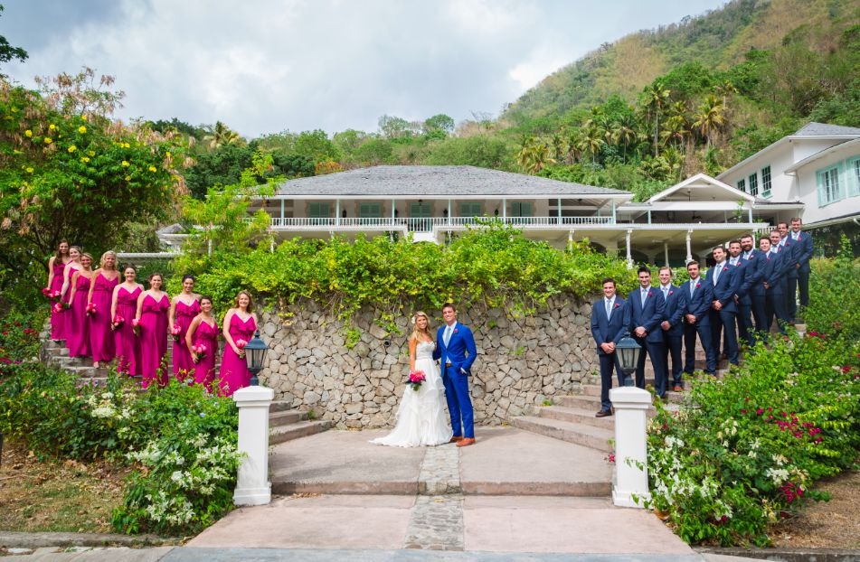 The stunning bridal party in St. Lucia