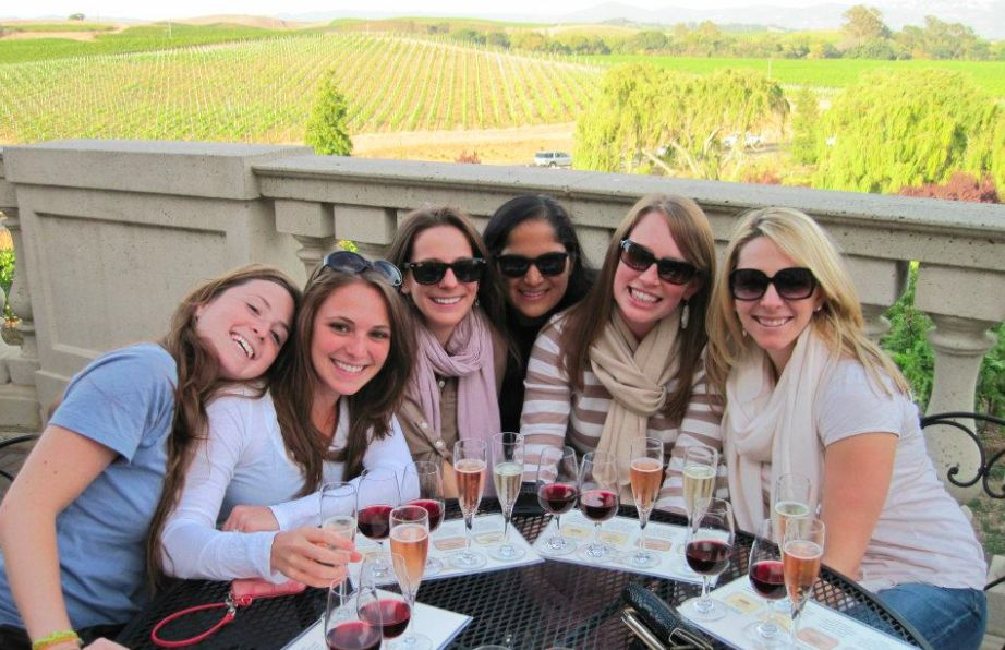 Lovely ladies enjoying wine tasting in Napa Valley.