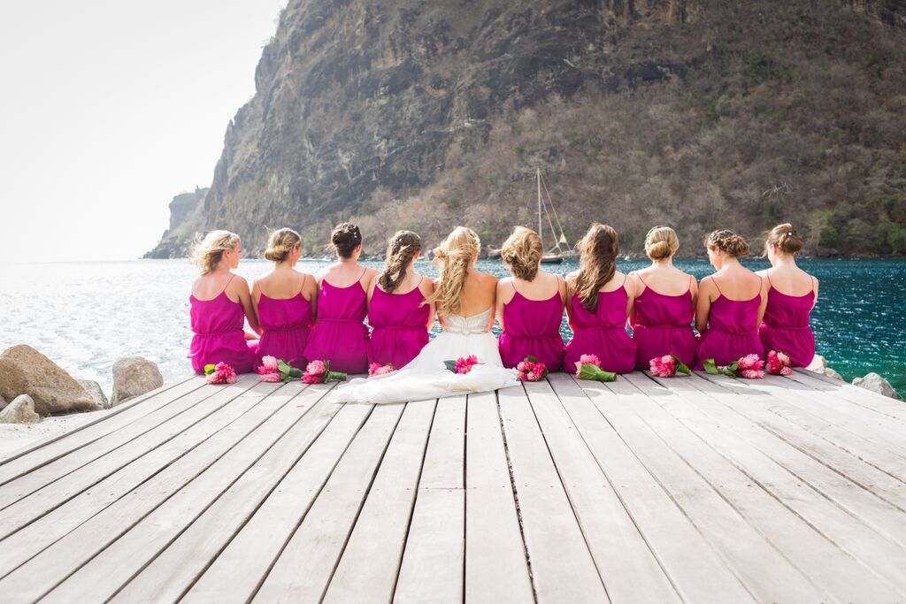 Kelley and her gorgeous bridesmaids enjoying the island.