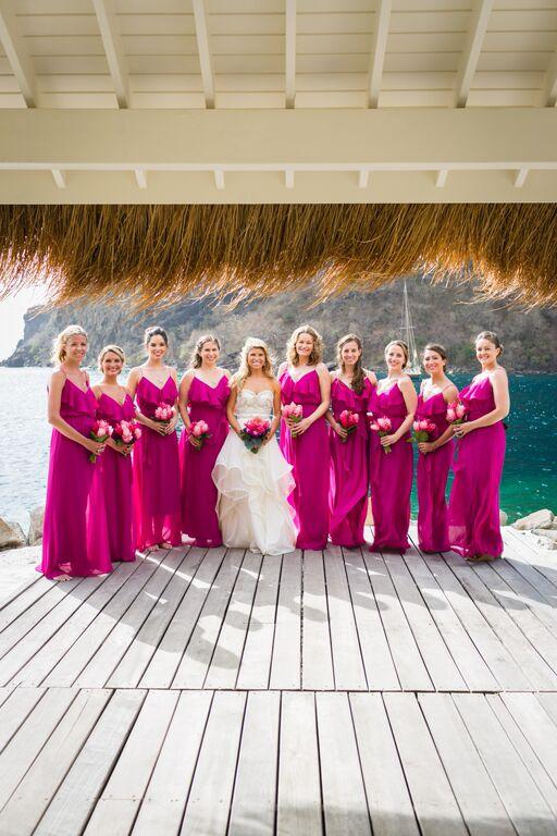 Kelley's Bridesmaids in Nouvelle Amsale Fuchsia