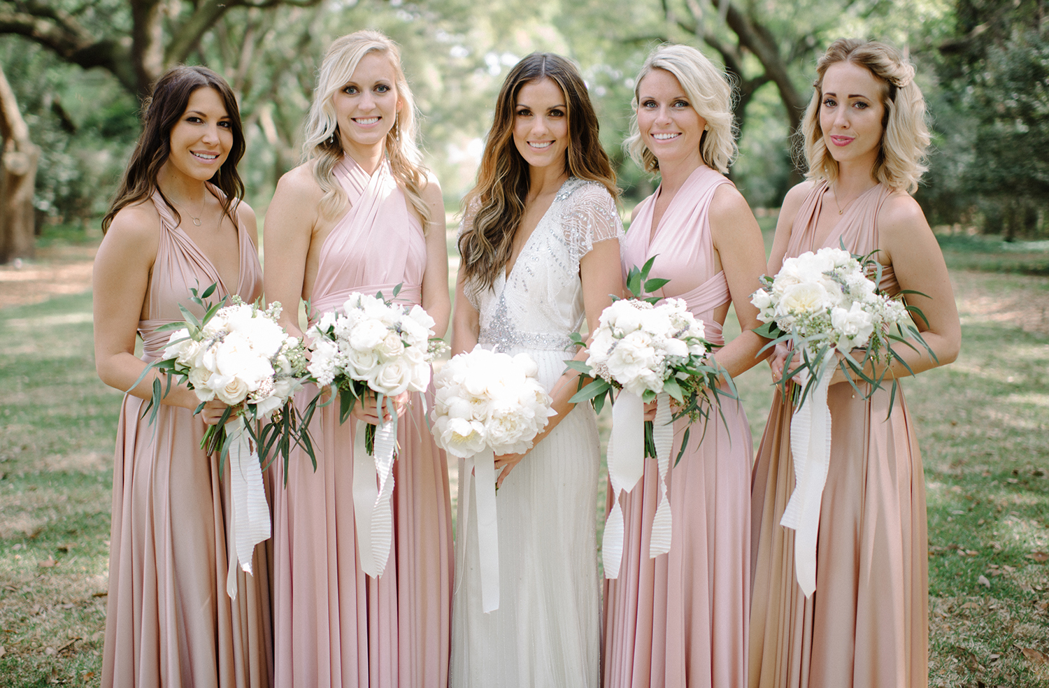 Bella Charleston Bride Erica and her stunning bridesmaids in twobirds. Photo by Sean Money and Elizabeth Fay.