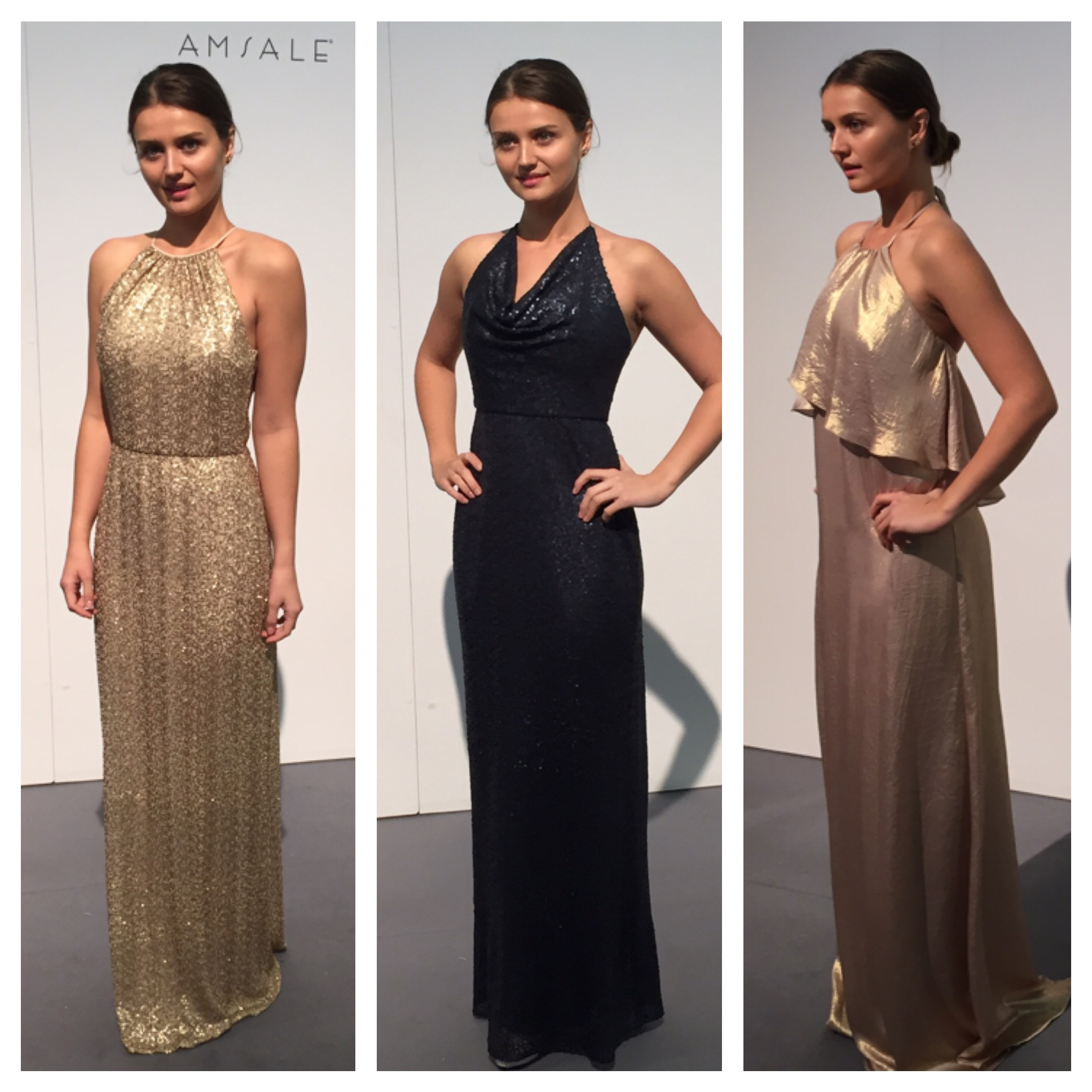 Amsale styles from left to right, G977Q, G975Q, and Nouvelle N347.