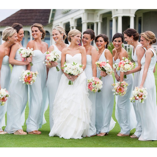 Bella Denver Bride Lauren and her sweet bridesmaids in Donna Morgan. Photo by Hunter McRae.