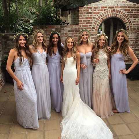 Bella Los Angeles Bride Char with her seriously gorgeous bridesmaids in Amsale. Photo by Char Major