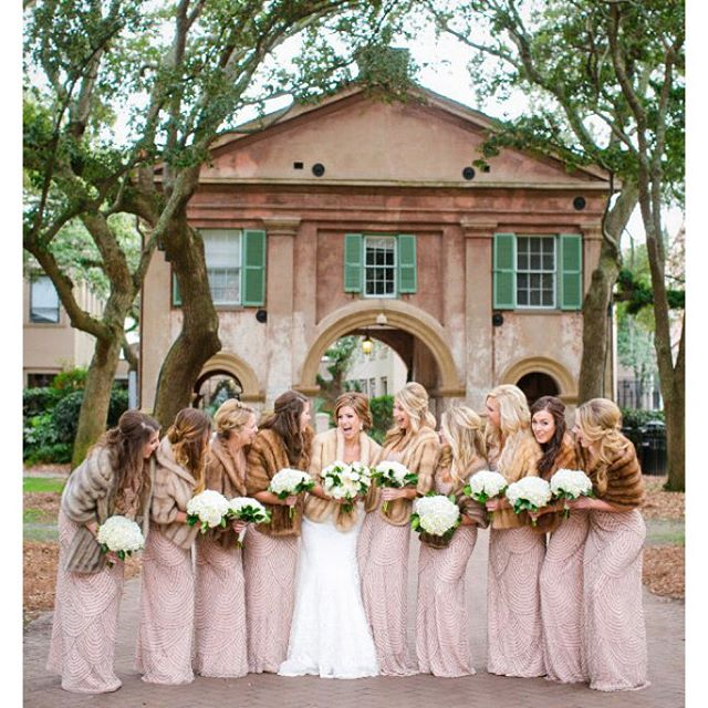 Bella Charleston Bride Kathleen and her glamorous bridesmaids wearing Adrianna Papell. Photo by Dana Cubbage.