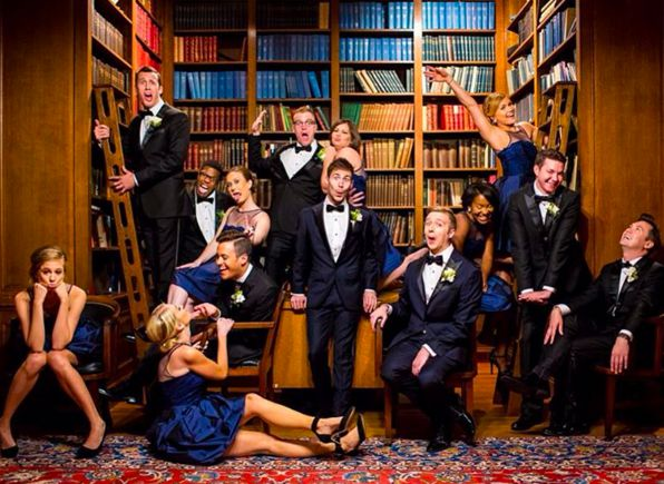 Bella DC Grooms Kyle and Kaylan clearly have the coolest bridal party around in Monique Lhuillier. Photo by Rhine Hart Photography.