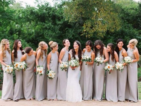 Designer Natalie Deayala and her perfect maids in The High Neck Gown in Dove.