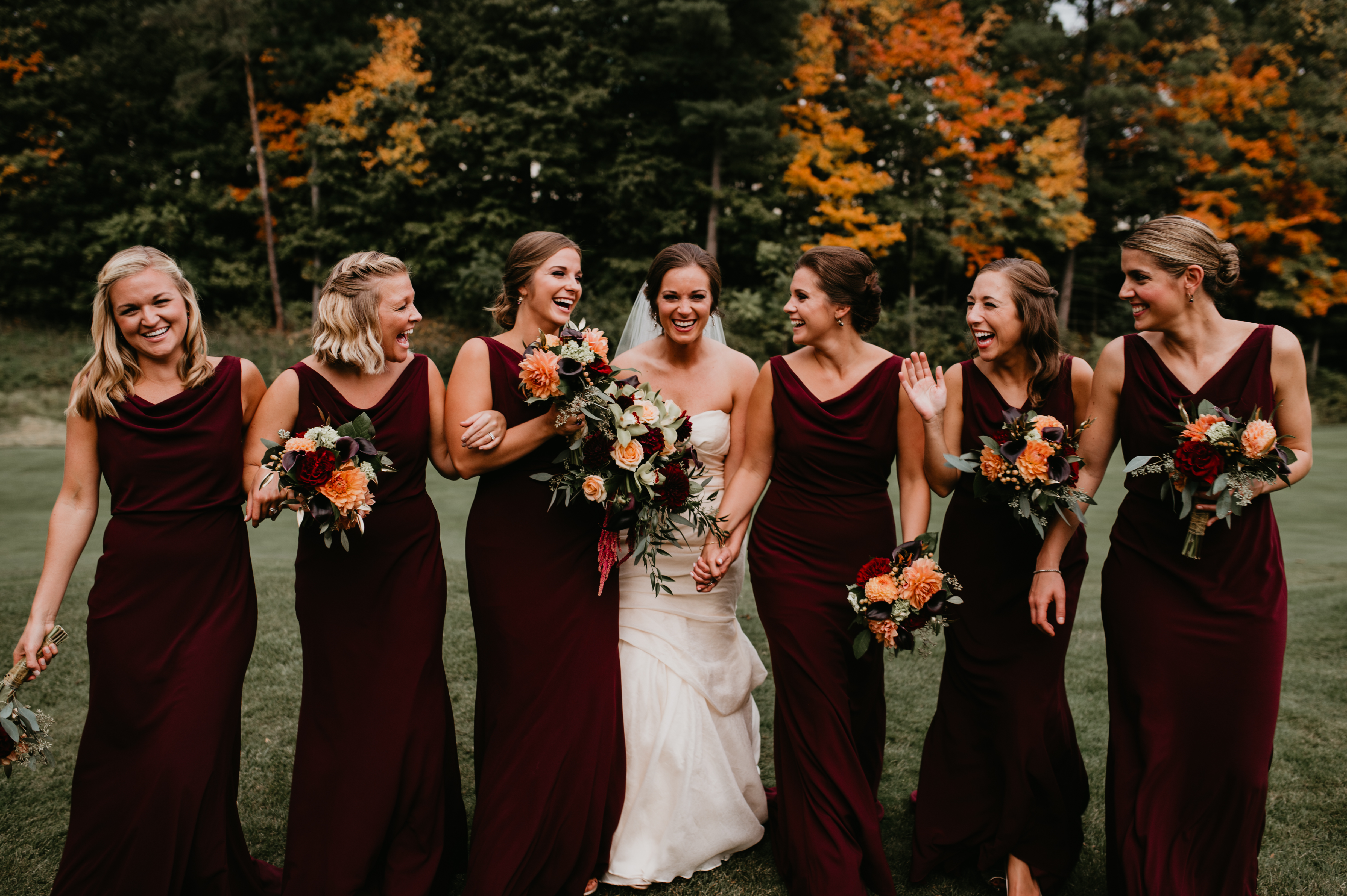 e9350893fd5 Abbey s bridesmaids looking gorgeous in the Madelyn style in Hibiscus by  Jenny Yoo!